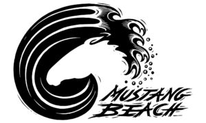 Logo shows wave curling in shape of mustang