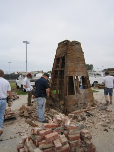 June 23, 2010: Our bell tower comes down