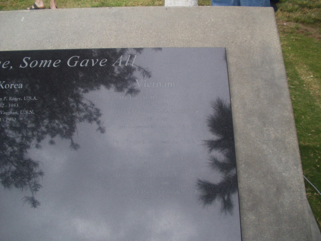 Close up of right side of memorial