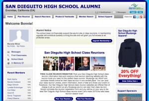 screenshot of fake alumni site