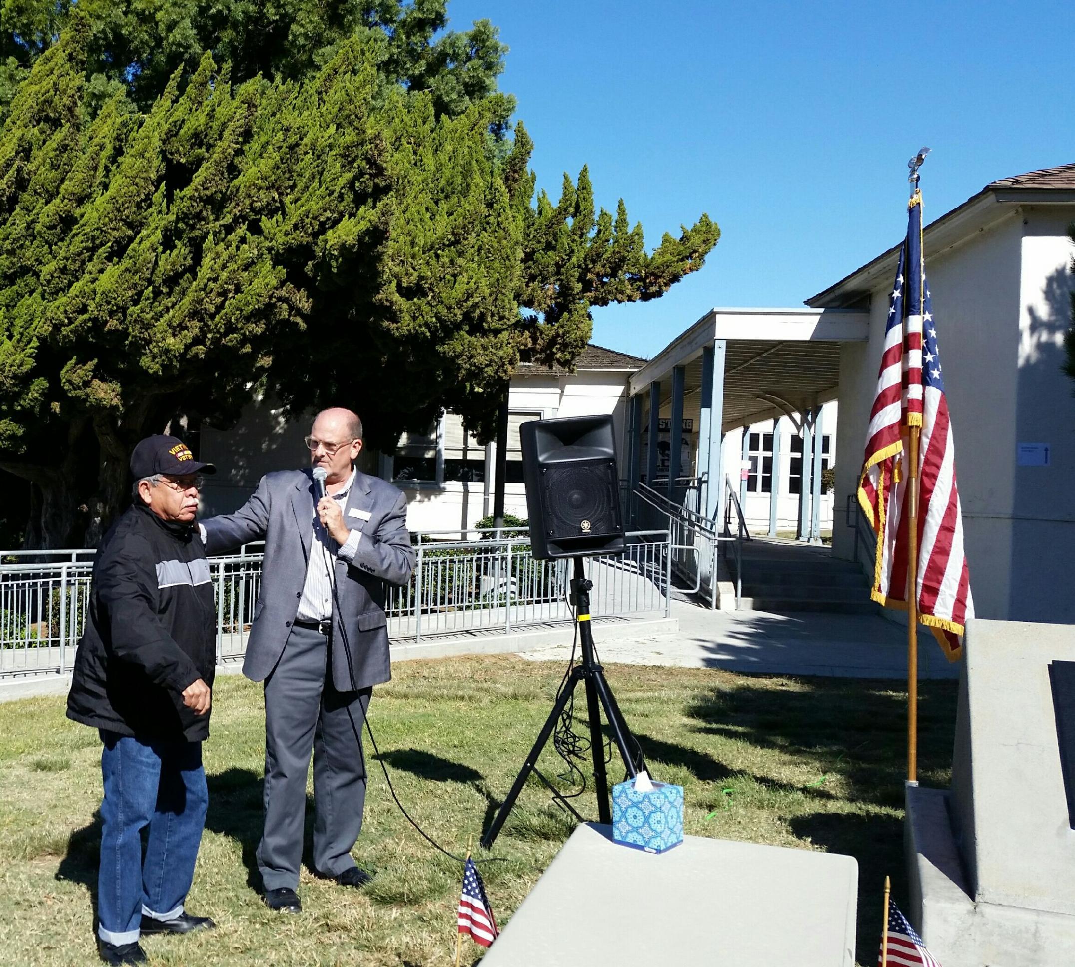 David and Ken in front of the memorial
