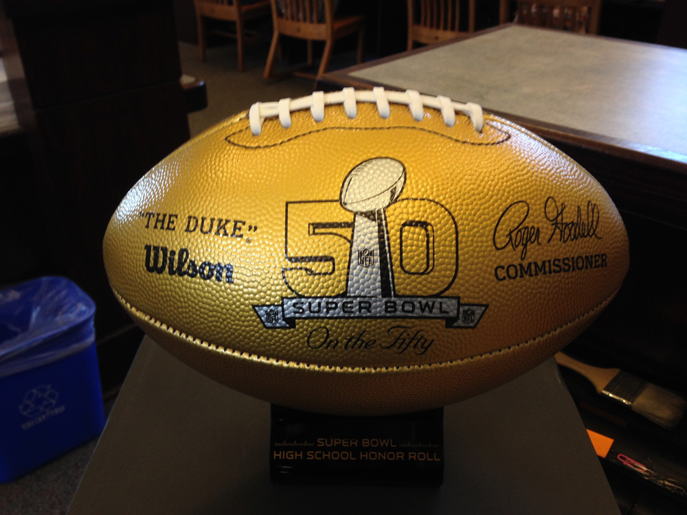 football reads 50th superbowl anniversary