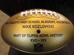 football reads Mike Kozlowski part of super bowl history