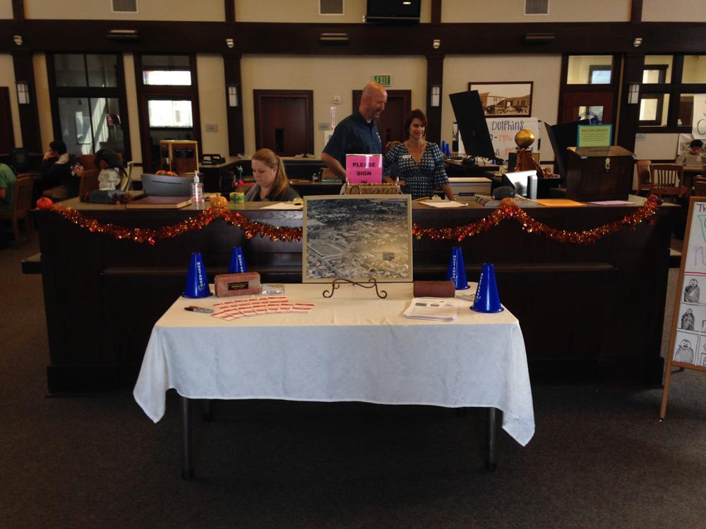 table holding memorabilia