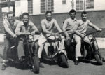 five boys on three scooters