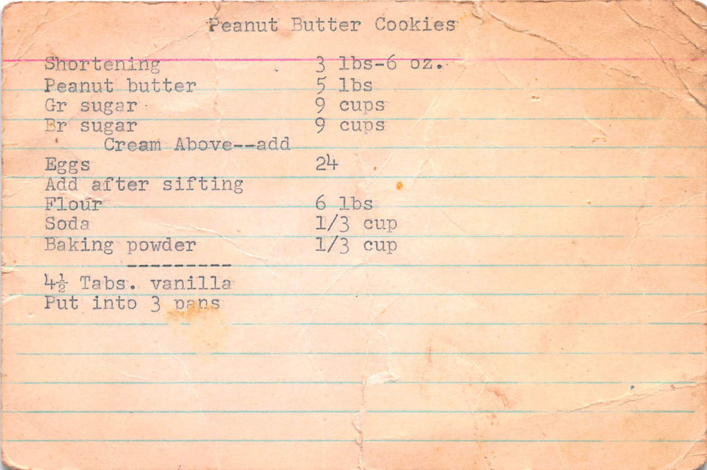 Typed recipe on brown card