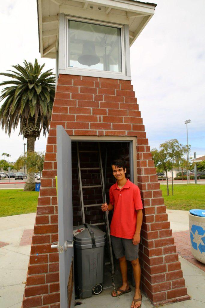 Bengt at door of bell tower