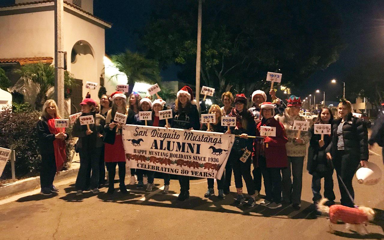 Alumni march in the 2017 Encinitas Holiday Parade (photos and video)!
