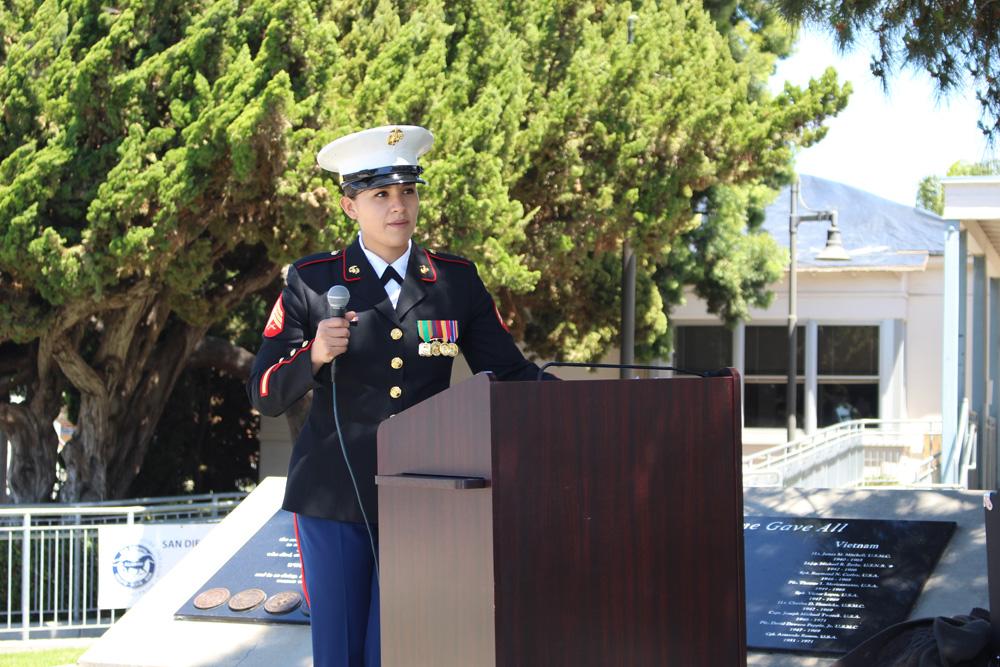 Sgt. Anna Rodrigues at lectern