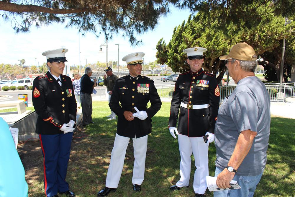 Three marines facing Ray