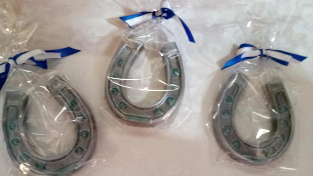 Three chocolate horseshoes