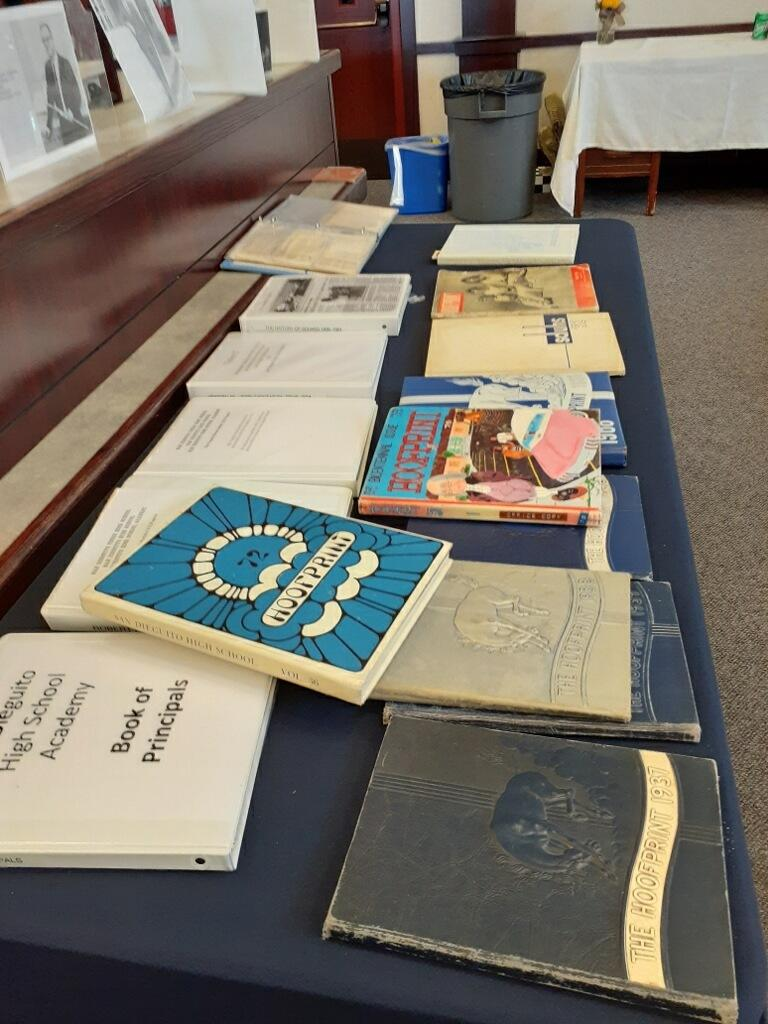 yearbooks spread over table