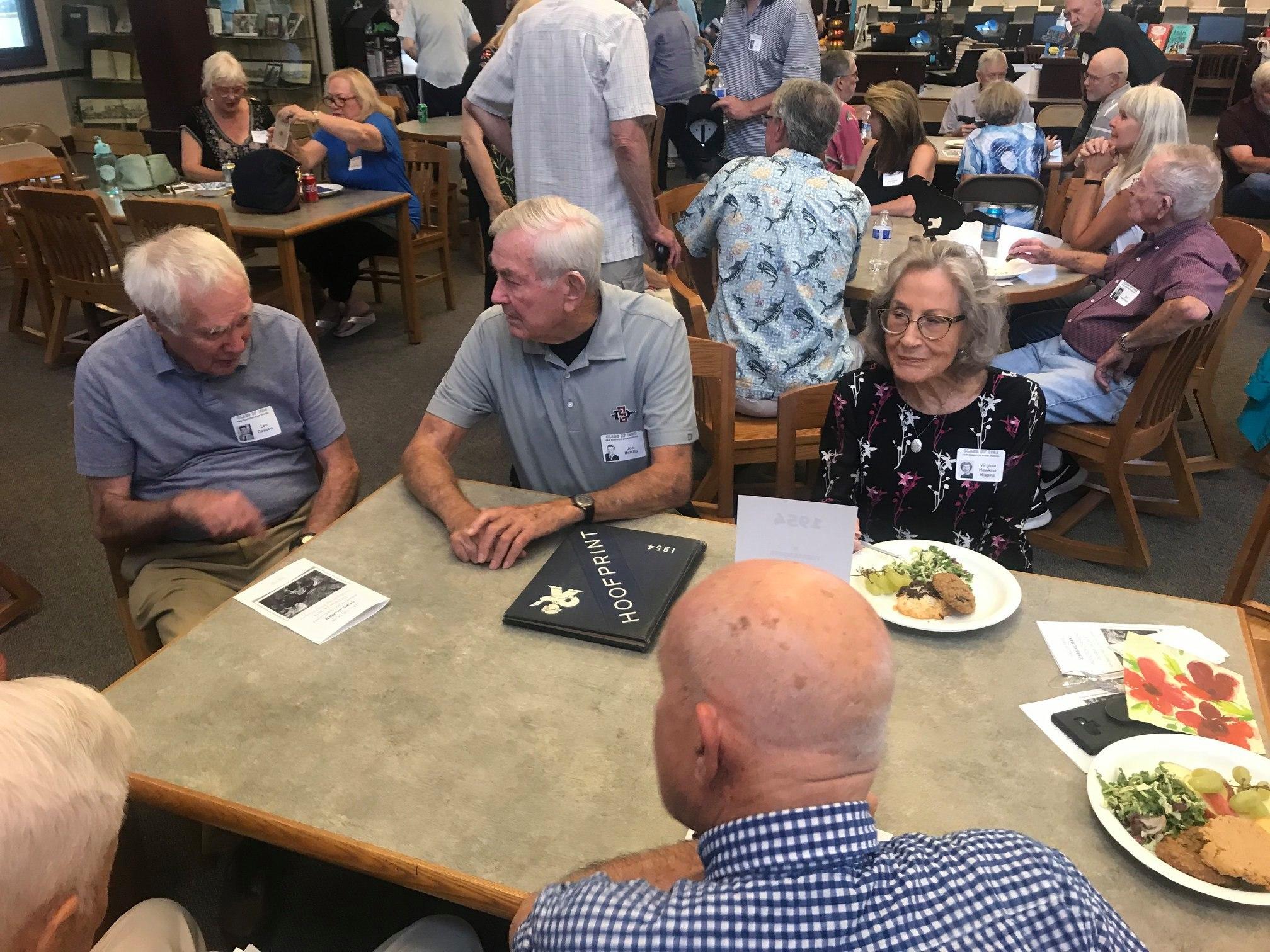 Alumni seated at table