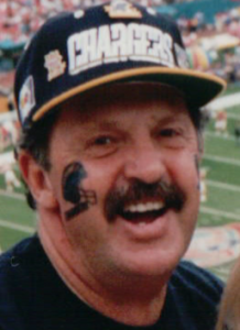 Jerry with Chargers hat on at game