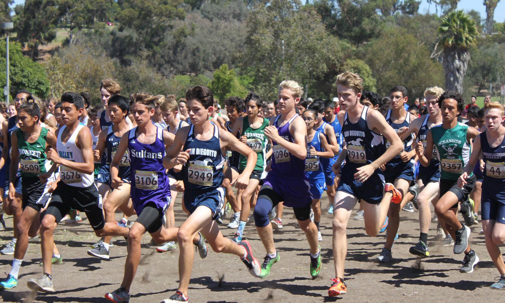 Team members run in a race